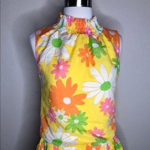 Vintage Yellow Pink Floral 60'S Tank top shirt S M
